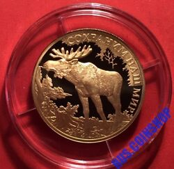 100 Roubles 2015 Russia Protect Our World Elk Gold Proof Rare