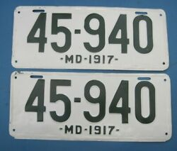 1917 Maryland License Plates Matched Pair Older Repaint