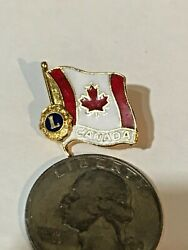 Lions Club Canadian Flag Lapel Pin Canada Maple Leaf Pinback Hat Tie Tac Red Whi