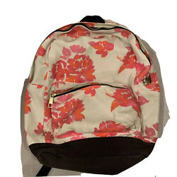 Pottery Barn Pb Teens Canvas Cotton Backpack Orange Pink Floral