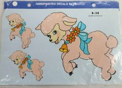 Vintage Decals Decorcal Pink Lambs Handpainted #B 28 1982 New in Package