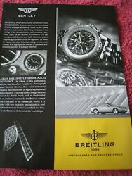 Breitling Watch Bentley Car Poster Advert Ready To Frame Approx A4 Size File T