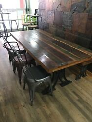 Dark Brown Acacia Wood Dinning Table And Bench With Rustic Metal Chairs Seats 8