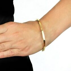 Flat Plain Solid 14k Yellow Gold Heavy Sturdy Polished Oval Bangle 4mm 6.5