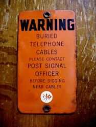 Wwii Us Signal Corps Porcelain Sign Buried Cables - Contact Post Signal Officer