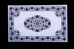 3and039x2and039 Table Top Inlay Marble Pietra Dura Art Coffee Dining Lapis Decorative A16
