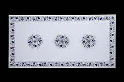 3'x2' White Marble Coffee Table Top Inlay Multi Color Stone Antique Pietra Dura