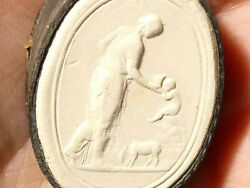 19thc Lady Watering Child Plaster Moulded Tassie Intaglio Seal Grand Tour P10