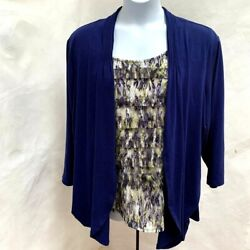 Sag Harbor 3x Twofer Top Blue Green Lace Layered Attached Tiered Tank Plus Size