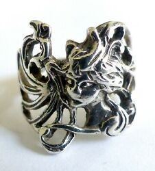 A Vintage 1980s Silver Ring With An Art Nouveau Lady's Head Design