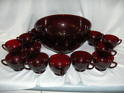 Vintage Royal Ruby Red Punch Cider Wassail Bowl And 12 Cups Anchor Hocking Nice