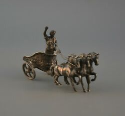 Antique Sterling Silver Roman Chariot With 3 Horses And Driver - Dutch 930