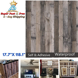 Plank Wood Peel Stick Wall Paper Kitchen Cabinet Shelf Drawer Liner Shiplal 118quot;