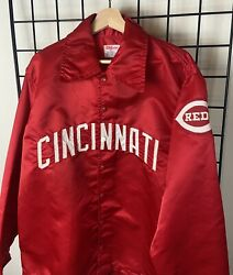 1970s Authentic Game Issued Cincinnati Reds Mlb Wilson Satin Jacket Sz 44 Large