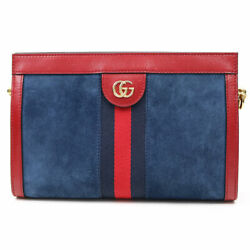 503877 0kcfb 4064 Gg Ophidia Small Chain Shoulder Bag Blue Red Suede Rare