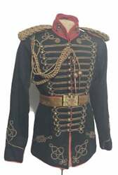 New Menand039s Steampunk 4 Pcs Army Officers Antique Braiding Hussar Jacket Fast Ship