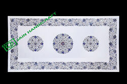 4and039x2and039 Table Top Inlay White Marble Pietra Dura Antique Coffee Dining A87
