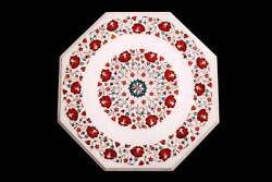 30 White Coffee Marble Table Top Inlay Malachite Antique Home Room Decor