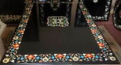 3and039x2and039 Black Marble Table Top Coffee Center Inlay Pietra Dura Decor Antique