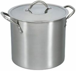 8 Quart Stockpot With Cover Lid Stainless Steel For Soups Stews Broths