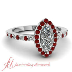 90 Ct Coupe De La Marquise Diamant And Rubis Halo Style Pierre Bagues Fianandccedilailles