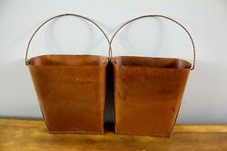 7quot; Grila Rusty Hanging Wall Planters Set of 2 Farmhouse Style Wall Vase New