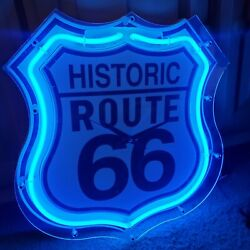Historic Route 66 Highway Shield Sign Neon Wall Clock 2002 Some Yellow See Video