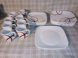 32 Pc Corelle Vitrelle Fine Lines. Mugs Black And Red Swirl On White Square Dishes