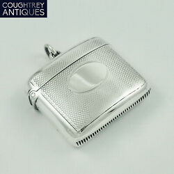 Nice Antique Victorian Sterling Silver Vesta Case - A And J Zimmerman 1901