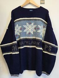 Vtg 90s Chaps Hand Knit Wool Christmas Sweater Mens Size Xl