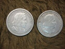 1892 And 1893 Columbian Exposition U.s. Commemorative Silver Half Dollars - Both