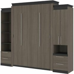 Bestar Orion 104 Queen Murphy Bed And Narrow Storage With Drawers In Bark Gray