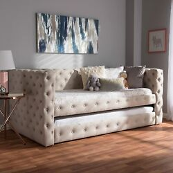 Baxton Studio Janie Light Beige Fabric Upholstered Daybed With Trundle New