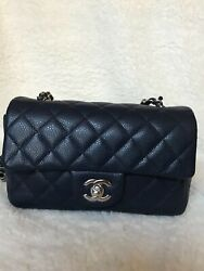 CHANEL mini rectangle CAVIAR NAVY Blue with silver hardware 14C authenticated $4950.00