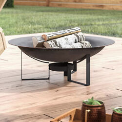 Outdoor Fire Pit Round Bowl Wth Stand Cast Iron Wood Burning Fireplace Portable
