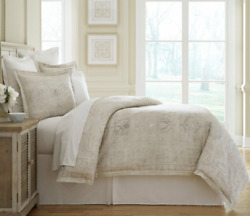 Southern Living Gentry Full/queen Duvet Cover And Shams 100 Cotton Tan Gray New