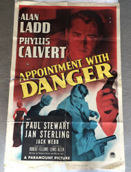 Vintage Original Movie Poster Appointment With Danger Alan Ladd One Sheet 1951