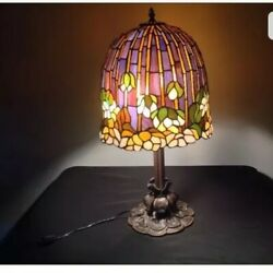 Metal Base Lotus Water Lily Flower Stained Glass Handcrafted Table Lamp
