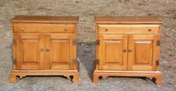 Pair Solid Rock Maple Nightstands Bedside Cabinets End Tables Record Cabinet