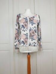 Made In Italy Cottagecore Rose Lace Trim Floral Cardigan Spring Summer 10 12 14