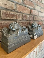 Pair Antique Bookends Lion Of Lucerne Monument Sleeping Lions Chalkware Swiss