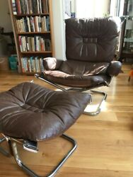 Antique Ingmar Relling Chair And Ottoman - Leather, Chrome, And Rosewood.
