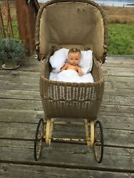 Antique Early 1900's Canopy Wicker Baby Buggy For A Lucky Doll