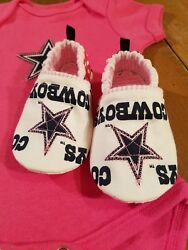 Dallas Cowboys Baby Girl Booties Tailgating Cowboys Girl Booties Only 6-9 Months