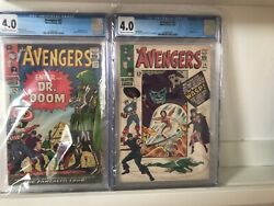 Avengers 25 And 26 Cgc 4.0 1966 Classic Kirby Dr Doom Cover Fantastic Four Appear