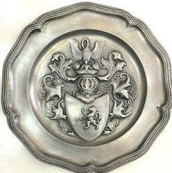 Antique Silver 92 French Old Solid Ornate Crest Hand Carved Metal Wall Hanging