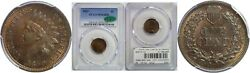 1869 Indian Head Cent Pcgs Ms-64 Rb Cac