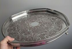 Silver Plated Gallery Tray Ball And Claw Feet Ornate Superb 16 Pepper And Hope