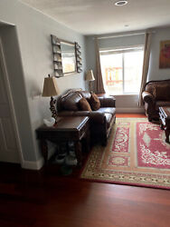 Leather Sofa Set Living Room With Tables And All Wall Art And Rug