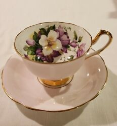 Clarence China England Pink Tea Cup Pink Exterior With Floral Inside Gold Foot